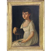 a portrait of a pretty dark haired young girl seated with embroidered picture by michele felice cornè