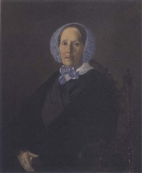 portait of a lady, seated, in a blue bonnet and black cloak by sergej konstantinowitsch sarjanko