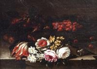 natura morta di fiori e fragole by giuseppe vicenzino