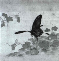 flowers and butterflies by zhou yigui