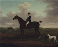 portrait of a gentleman on a bay hunter with his greyhounds and a country house beyond by john francis sartorius