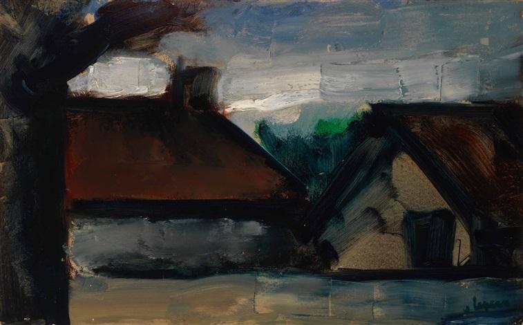 oude boerderij bij avond by johan hendrik van ieperen