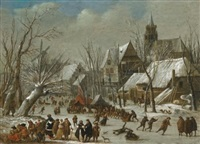 a winter landscape with figures on a frozen canal by gerrit (gerard) battem