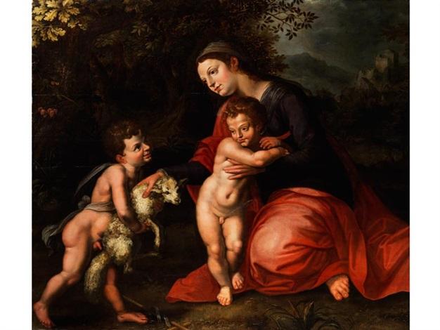maria mit dem jesuskind und dem johannesknaben by hendrick de clerck