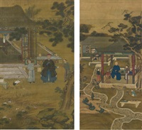 official in grand garden (2 works) by anonymous-chinese (qing dynasty)