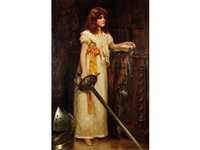 a young girl wearing a white dress and holding a sword, standing within a library interior by norman prescott davies
