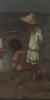 children playing at the beach by marinus van der maarel