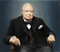 portrait of sir winston churchill by fred aris