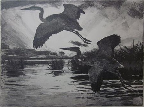 yellowlegs and sunlight the punter blue herons 3 works by frank weston benson