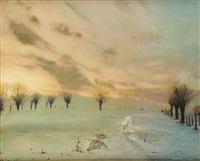 nu au paysage hivernal by alain senez