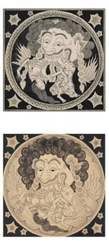 a. kala bau mangan sangeang bulan (eclipse of the moon) b. the head of the demon kala rahu eats dewi bulan, the moon (a lunar eclipse) (2 works) by dewa nyoman leper