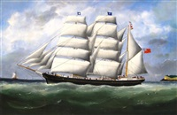 the barque ifafa under full sail leaving le havre by édouard adam