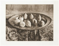 georgia peaches (+ gourds, irgr; 2 works) by lou spitalnick