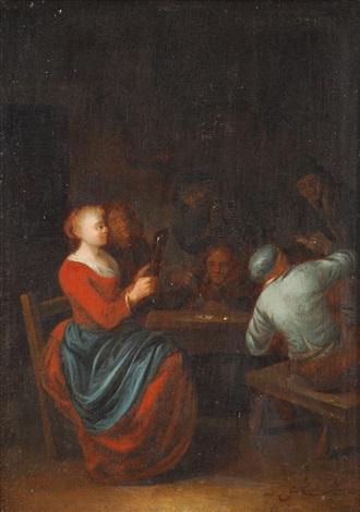 joueurs de cartes dans une taverne by gerrit lundens