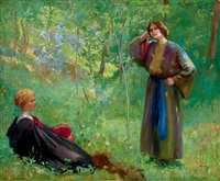 scene in a shiny forest by ferencz (franz) paczka