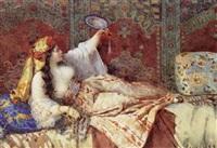 jeune femme allongée à l'orientale se regardant dans un miroir by oreste cortazzo