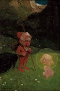 wicht und elfenkind, rückseite transportetikett by karl heilig