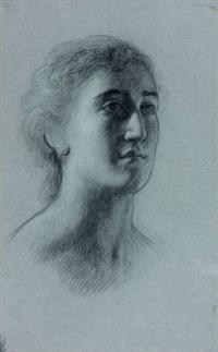 portrait de femme de trois-quarts (preparatory drawing) by alexandre-jean-baptiste hesse