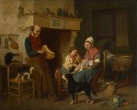 scène de famille avec chien et chat by louis simon cabaillot lassalle