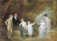 a group portrait (the artist, her husband and children?) in a wooded landscape by maria spilsbury