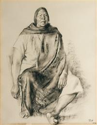 lady with shawl by francisco zúñiga