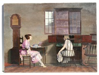 interior scene with two seated young women having a conversation by waldo kennard