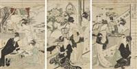 triptyque oban tate-e de la série « toyokuni toyohiro ryoga juniko », douze mois par deux artistes, toyokuni et toyohiro, planche « nigatsu sanmai tsuzuki », représentant le deuxième mois, préparations du festival d'inari au yoshiwara by utagawa toyohiro