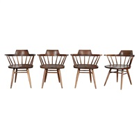set of four captain's armchairs by george nakashima
