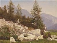landschaftsstück (+ flußlandschaft im gebirge; 2 works) by michael haubtmann