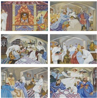 designs for the murals of club petroushka (6 works) by nikolai vladimirovich remizov