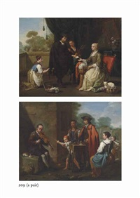 a man paying a seamstress for her services; a fiddler and a quacksalver with other figures outside a house (pair) by antonio mercurio amorosi