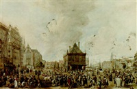 view of the dam with the waag, the nieuwe kerk nad the royal palace under construction by willem stad