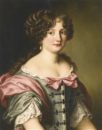 portrait of anna maria carpegna naro, half length, wearing a dress with fine lace and pink bows by jakob ferdinand voet