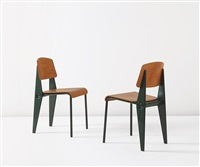 demountable semi-metal chairs, model no. 300 (pair) by jean prouvé