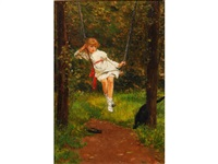 a girl on a swing in a garden by lionel percy smythe