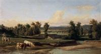 paesaggio con fiume e mucche by lorenzo gelati