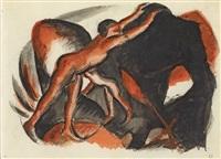 zwei rote jünglingsakte auf schwarz by franz marc