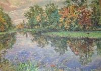 newton creek in autumn by william hoffman