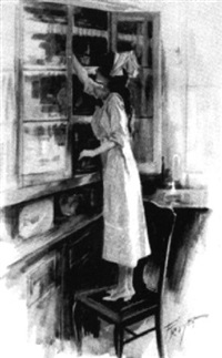 young woman standing on chair reaching into cupboard by charles m. relyea