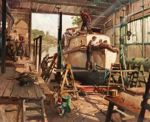 the boat workshop by terence cuneo