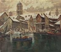 mühlendamm, berlin, im winter by julius von kaan-albest