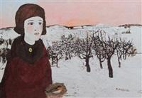 ragazza con nido nella neve by francesco tabusso
