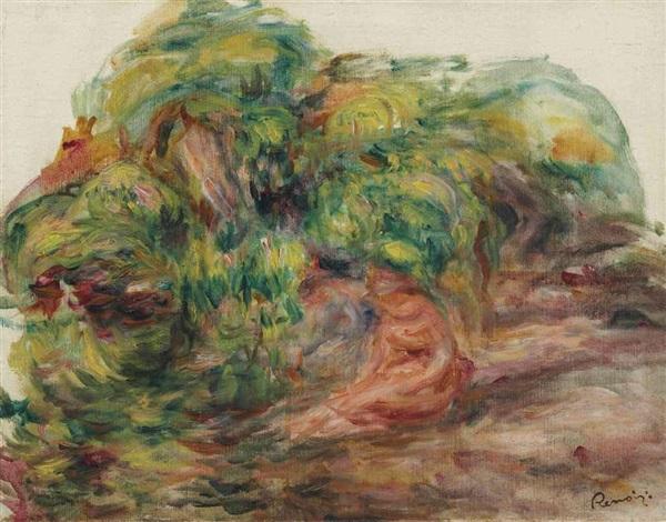 esquisse de paysage deux femmes dans le jardin des colettes à cagnes by pierre auguste renoir