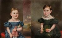 portraits of sisters emma jane and martha orrell, b. providence, rhode island (2 works) by james sullivan lincoln