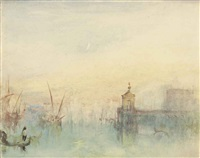 venice: the new moon - the dogana from the steps of the hotel europa by joseph mallord william turner