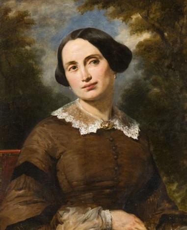 portrait de femme dans un paysage by alexandre marie colin