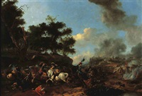 a skirmish with polish cavalry near an encampment by pieter wouwerman