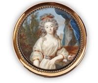 portrait de jeune femme en robe de voile blanc accoudée sur un entablement, la coiffure relevée retenue par un ruban ocre, fond de paysage by jean baptiste jacques augustin