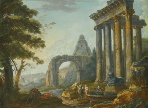 an architectural capriccio with the temple of concordia the arch of titus and the pyramid of caius cestius with figures before a fountain in the foreground by hubert robert