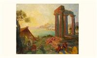 campement sur les ruines antiques by francois-marius valere-bernard
